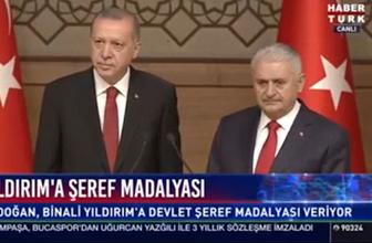 Erdoğan madalya töreninde konuştu Binali Yıldırım ağladı