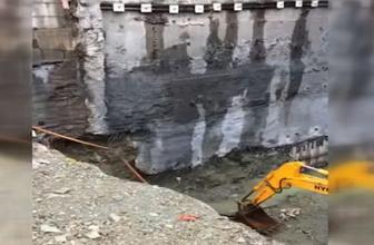 Sütlüce'de çöken binanın istinat duvarı böyle yıkıldı!