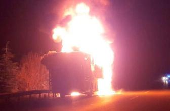 Eskişehir'de yolcu otobüsü alev alev yandı
