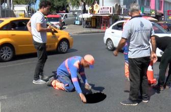Beşiktaş Nispetiye Caddesi'nde yol çöktü