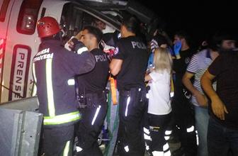 Yolcu otobüsü şarampole devrildi: Çok sayıda yaralı var!
