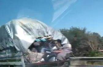 Diyarbakır'da tehlikeli yolculuk kameralara böyle takıldı