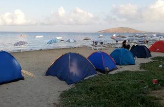 Avşa adasında tatilciler yer bulamayınca...