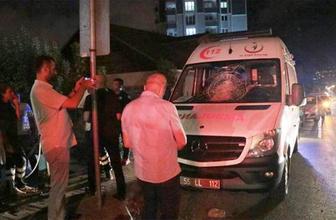 Samsun'da taşlarla ambulansın camlarını kırdılar