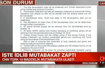 İşte Türkiye ile Rusya arasındaki İdlib mutabakat zaptı