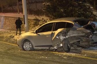Aracının kazada fırlayan lastiklerinden birini bırakıp üç tekerle kaçtı