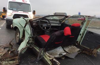 Tekirdağ'da korkunç kaza otomobil ikiye bölündü