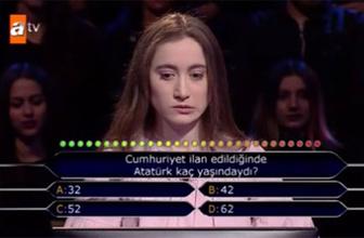 Kim Milyoner Olmak İster'de Atatürk sorusuna joker kullanan yarışmacı tepki aldı