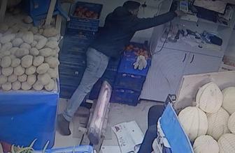 Manav hırsızı güvenlik kamerasına böyle yansıdı