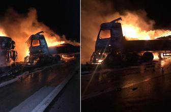 Mersin'de korkunç kaza! Araçlar alev alev yandı, iki kişi yaralı