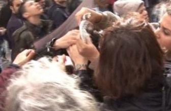 Taksim'deki kadın eyleminde lodos dehşeti!