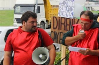 CHP il binası önünde işçi eylemi