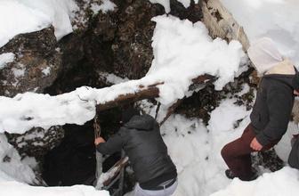 Dağdaki Cula Deliği'ne yaz için tonlarca kar depolandı
