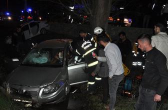 Kahramanmaraş'ta feci kaza! 2 otomobil çarpıştıktan sonra kanala uçtu