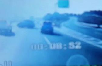 Dikkatsiz sürücünün sebep olduğu zincirleme kaza kamerada
