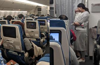 Bebeğiyle uçak yolculuğu yapan annenin yaptığı hareket viral oldu