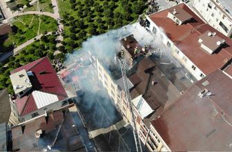 Esenyurt'ta korkutan yangın havadan görüntülendi