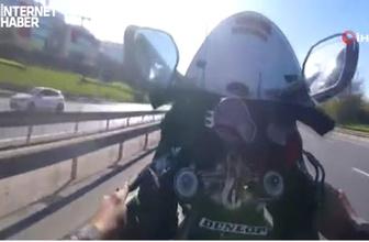 Sevgilisiyle motosiklet üzerinde terör estiren maganda kamerada