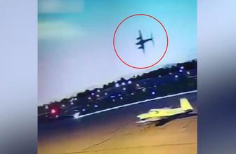 Yere çakılan uçak alev topuna döndü! Dehşet anları kamerada