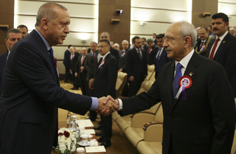Erdoğan ile Kılıçdaroğlu Anayasa Mahkemesi'nin kuruluş töreninde tokalaştı