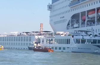 Venedik'te kontrolden çıkan cruise gemisi, bir gemiye ve limana çarptı