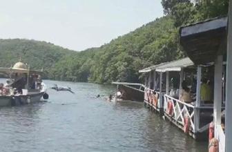Şile Saklıgöl'de insanlar çöken çardakla göle uçtu!