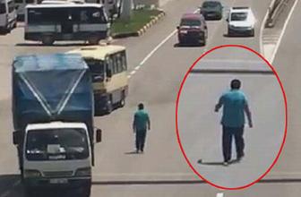 Kırıkkale'de karayolunda tehlikeli yürüyüş