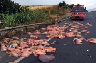 Manisa'da devrilen kamyonetteki sakatatlar yola saçıldı