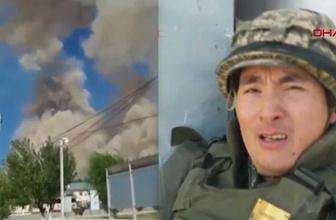 Kazakistan'daki silah deposundaki patlamalar asker kamerasında