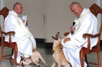 Kilisede ayin sırasında oyun oynamak isteyen köpek kamerada