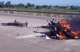 Bursa'da motosiklet sürücüsü yanarak feci şekilde can verdi