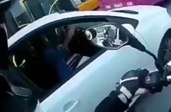 Şişli'de kadın sürücüden motosikletliye ilginç tepki