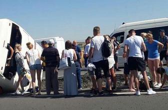 Denizli'de turistlerin tur otobüsü devrildi! Yaralılar var