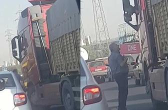 TIR sürücüsü aracını tartıştığı kişinin üzerine sürdü
