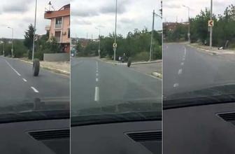 İstanbul'da dehşet anları! Kamyondan fırlayan lastik küçük çocuğa çarptı