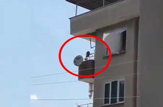 Bursa'da küçük çocuğun balkonda tehlikeli anları kamerada