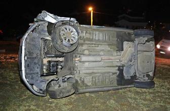 Samsun'da 15 yaşındaki çocuğun kullandığı otomobil devrildi