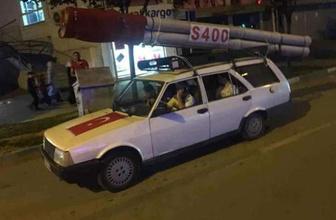 Bursa'da aracının üzerine koyduğu S-400 maketiyle tur attı