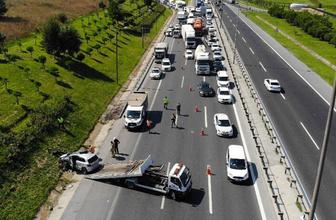 TEM otoyolunda feci kaza: Trafik kilitlendi
