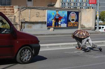 Bursa'da kaplumbağa kostümlü ilginç protesto! Vatandaşlar şaşkınlıkla izledi