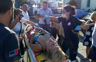 Sürat teknesinin çarptığı kadın ağır yaralandı