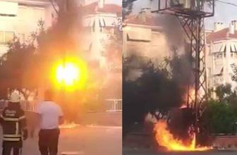 Tekirdağ'da trafoda patlama kameralara saniye saniye yansıdı