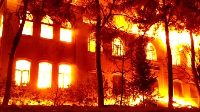 Denizli'de 91 yıllık tarihi Gazi Paşa Mektebi binasıda yangın