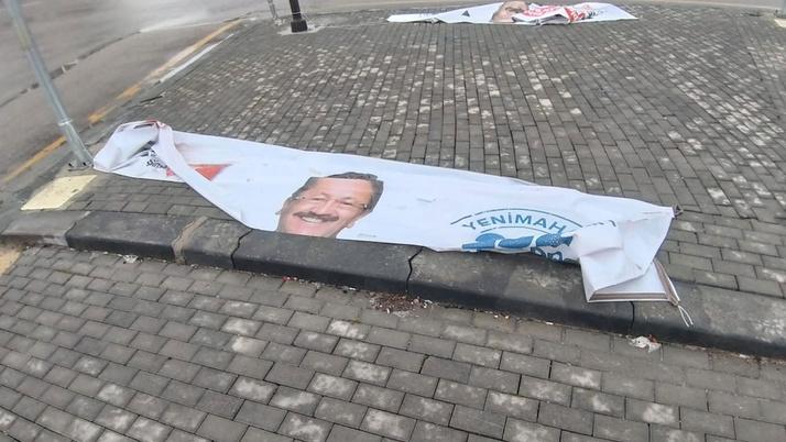 """""""Yenimahalle Belediye Başkan Adayı Veysel Tiryaki'nin pankartları kesildi"""" iddiası"""