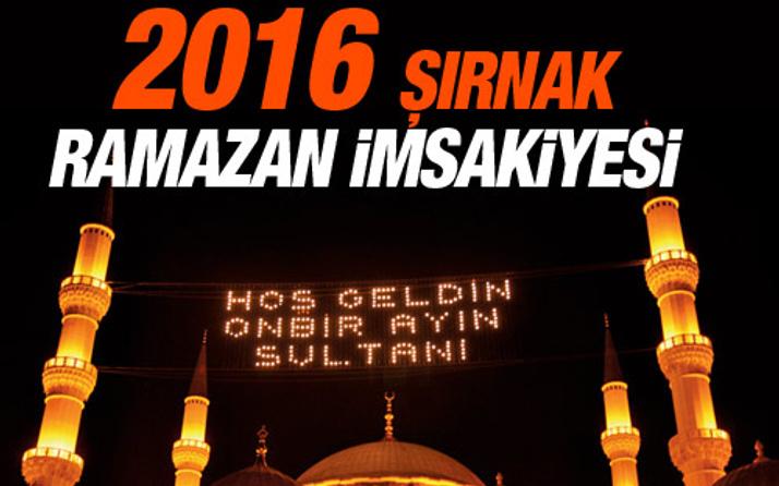 Şırnak iftar vakti sahur saatleri İmsakiye 2016