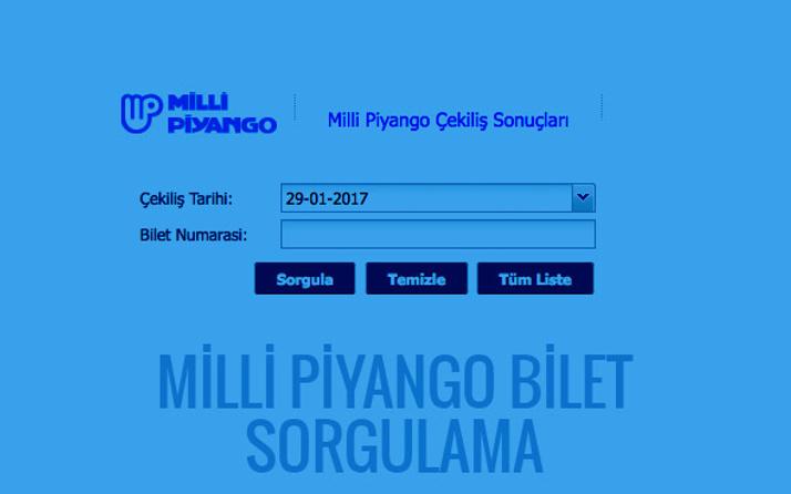 29 Ocak Milli Piyango listesi bilet sorgulama
