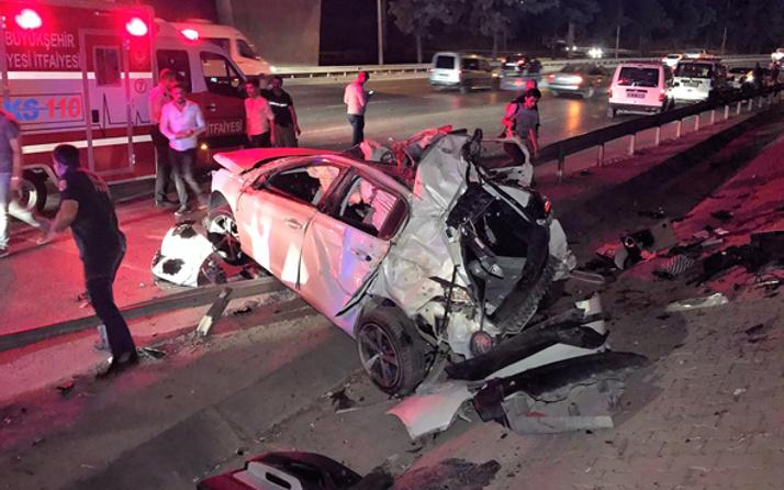 Kontrolden çıkan otomobil alt yola uçtu: 2 ölü, 1 yaralı