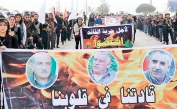 PYD'li teröristler Tel Abyad'da PKK elebaşları için yürüyüş yaptı