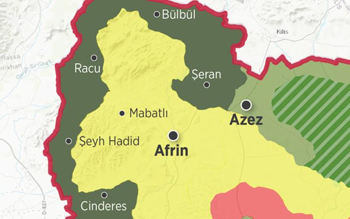 Afrin'in ne kadarı alındı son durum haritasına bir bakın!