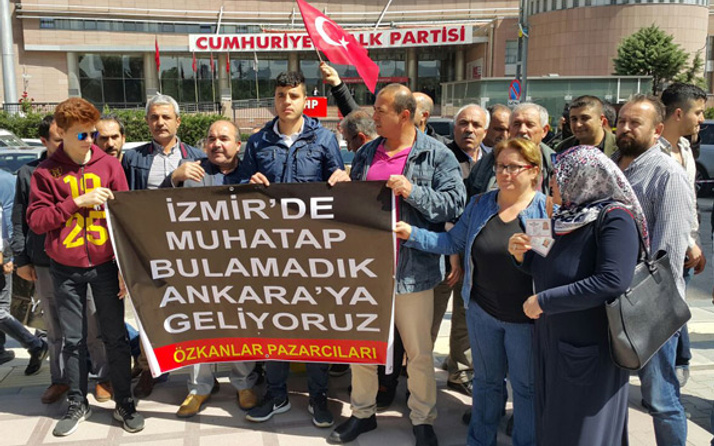 Pazar esnafından CHP önünde protesto
